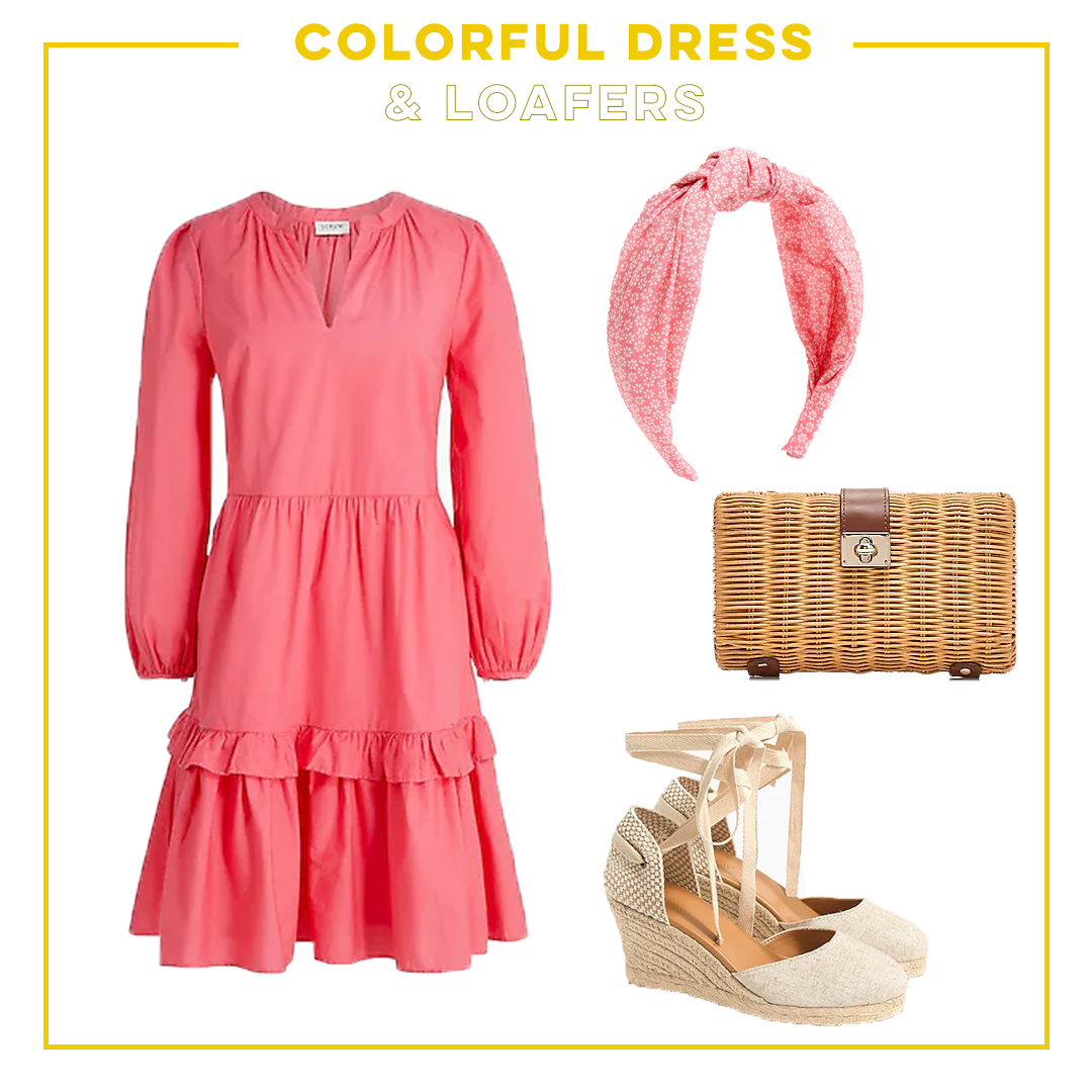 colorful dress and loafers