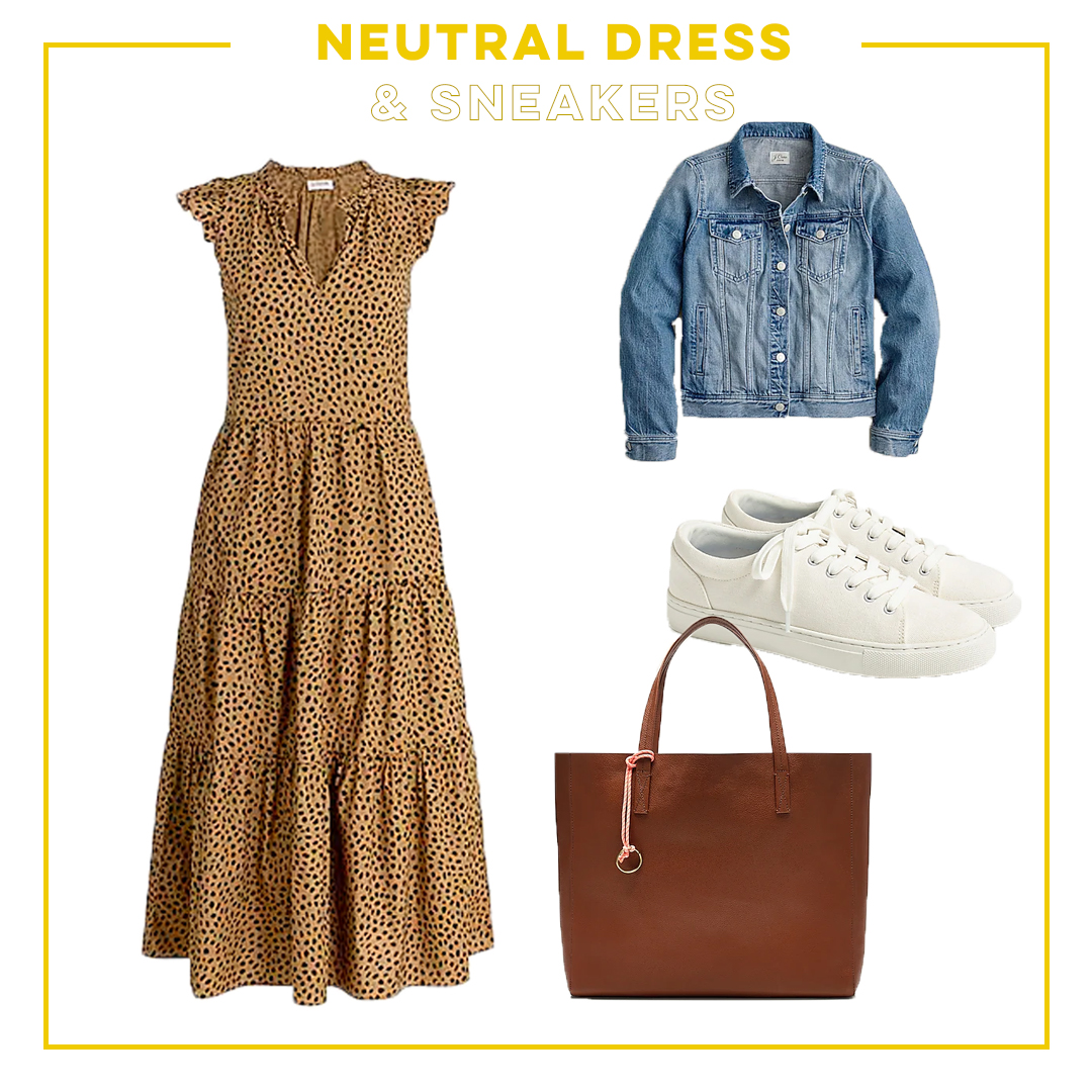 collage of neutral dress and sneakers Summer to Fall Transition Outfits