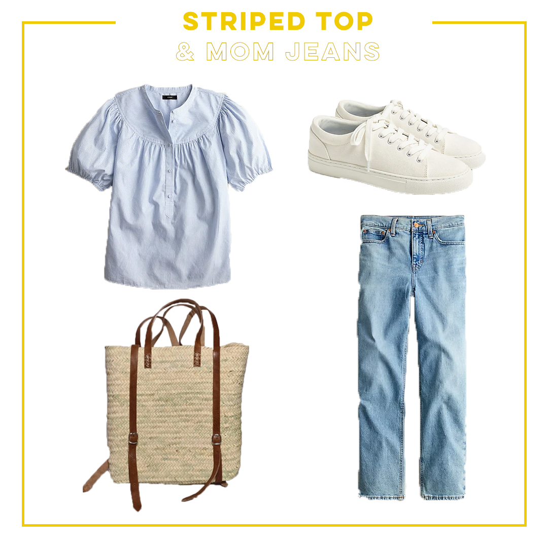 striped top and mom jeans