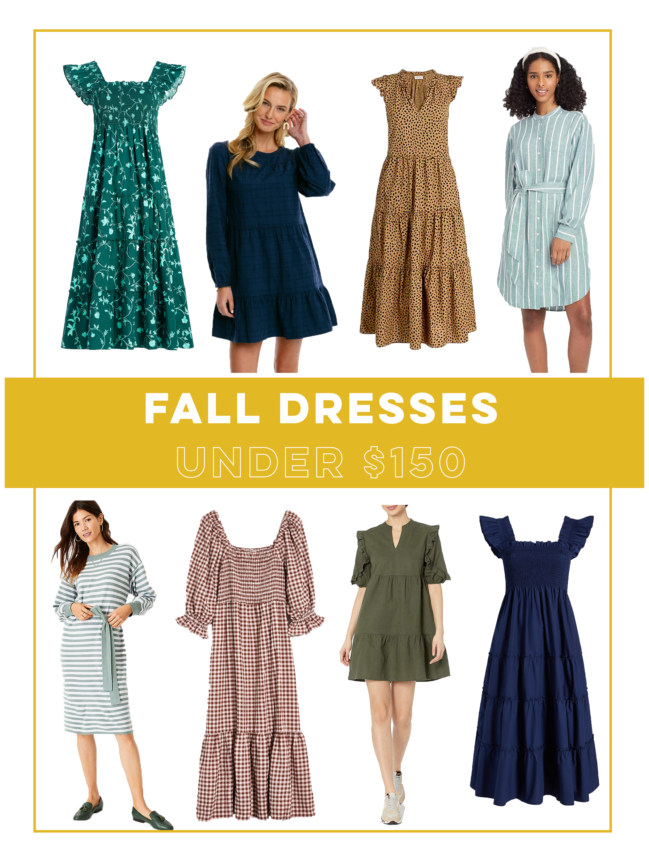 collage of Fall Dresses Under 150